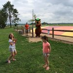 Opening the park with Yogi the bear at the bounce pillow.