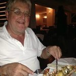 Tucking into the grilled lobster