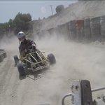 Drift Karting around the track.