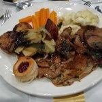 Leg of lamb, confit shoulder, redcurrant and mint jus, vegetables, potatoes and gravy