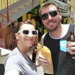 In Ocho Rios eating meat pies and drinking Red Stripe.