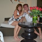 Roses and champagne for the honeymooners donatet by the park hyatt