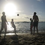 One of many  images of futbol juggling on the beach