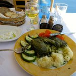 tzatziki, sole stuffed with spinach