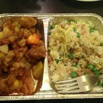 Cantonese rice and sweet and sour pork.