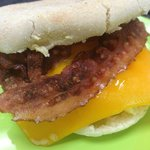 Bacon Eggs and cheese English Muffin