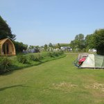 The campsite - a view of our tent opposite the pods