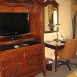 TV, armoire/dresser cabinet, writing desk