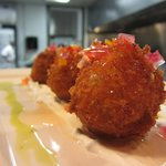 Pimento Cheese Fritters, pepper jelly, chive sour cream