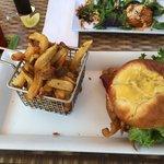Softshell crab BLT on onion brioche bun