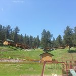 from the playground/pool looking up at the cabins