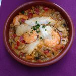 ratatouille with shrimps and white fish
