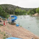 slides in Blue Hole Pool (kids love that)