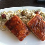 Salmon with corn risotto