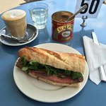 Beef horseradish & rocket sandwich