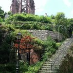 These are the first stairs on the trail to Burg Stahleck and the Gothic Church Ruins.