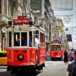 Old trolley cars on Istiklal Street