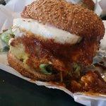 Egg cheeseburger with chili/cheese sauce