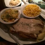 Country fried steak over mashed potatoes w/ broccoli cauliflower cheese casserole, corn nibblets