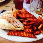 Turkey sandwich with sweet potato fries-way more than I could eat