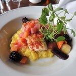 halibut com risoto de alçafrão