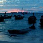 Long Tail Boats waiting Sunrise