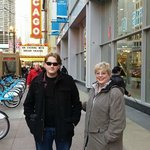 Me & my Grandson outside of the Chicago Theatre