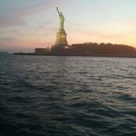 Evening photo of the Statue of Liberty from the boat