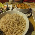 Our meal of brown rice, brinjal salad, beef & pumpkin curry