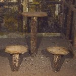 table and chairs in mess hall