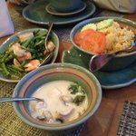 Tom Kha and the mains Chicken fried rice and Phad Khing Goong