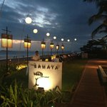 Early evening view along the beach side dining.