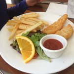 Kid's Fish & Chips (one piece of fish already snaffled by a hungry child)