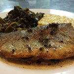Local trout!! Collard greens & grits!