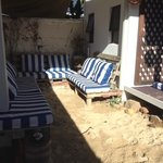 A mini beach to relax without leaving the hostel