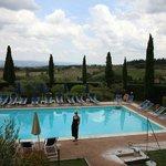 Underbara omgivningar med utsikt över det sköna toscanska landskapet