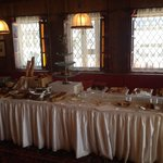 Pastries, bread and cakes at the breakfast buffet