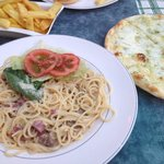 Spaghetti Carbonara (salad from boyfriends burger), garlic pizza bread + chips. YUM!