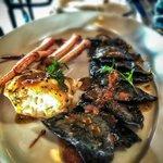 Black ink ravioli with Crab