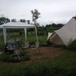 Bell tent and fire pit. Gazebo was our own.