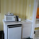 mini bar area located in living portion of suite