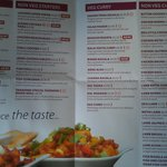 Sample menu to give you an idea of the kinds of food available