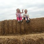 my little ones on the haystack