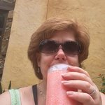Frozen strawberry margarita time in Mexico