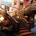 The grand staircase, leading to bedrooms