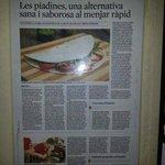 Articulo en prensa recomendando nuestras piadinas!