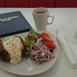 Lunch.  Salmon Jacket Potato.  Very filling.