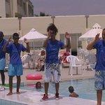 Club dance around the pool