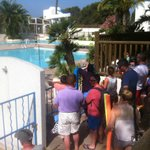 queuing for the pool at 10am
