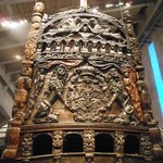 Close-up view showing the detailed wood carvings on the stern of the warship Vasa.